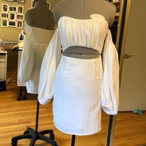 White Cotton Dress Front Midriff XS